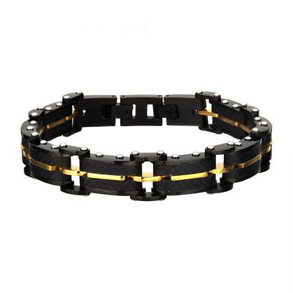 Black Carbon Fiber and Gold Plated ID Link Bracelet
