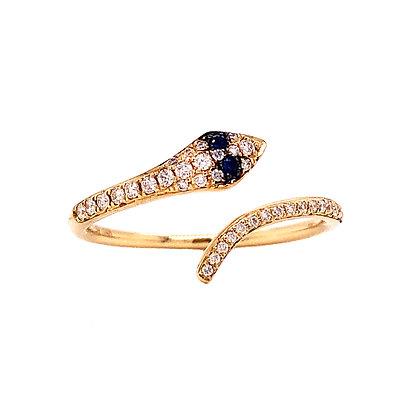 14KY Sapphire & Diamond Snake Ring