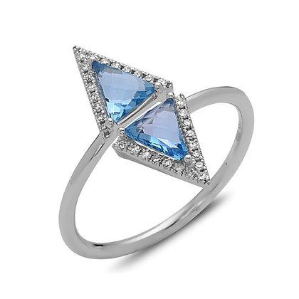 Bassali 14KW Blue Topaz & Diamond Ring