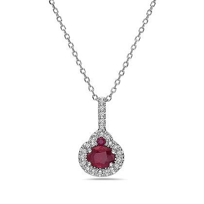 14KW Ruby & Diamond Drop Necklace
