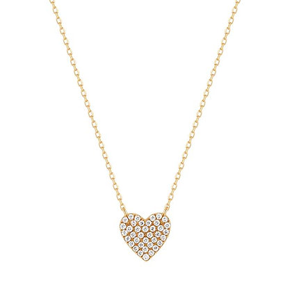 14KY ELSIE | Diamond Pave Heart Necklace