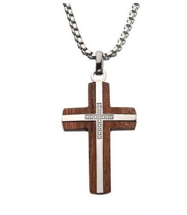 Stainless Steel Wood Cross & Diamond Necklace