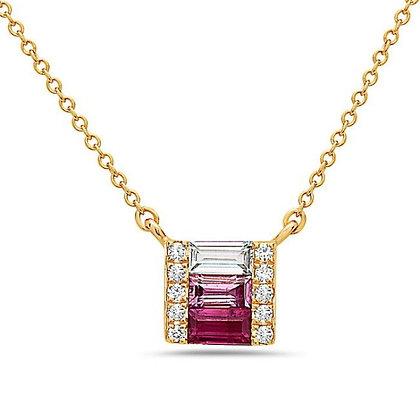 Bassali 14KR Ruby, Pink Sapphire, & White Topaz Pendant