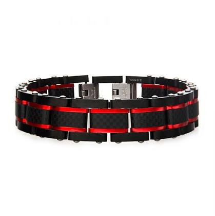 Black & Red Steel Matte Carbon Fiber Bracelet