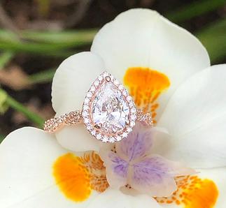 14K rose gold lab grown diamond engagement ring