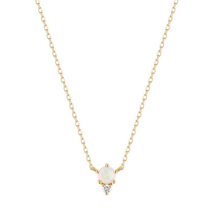 14KY ZENA | Opal and Diamond Necklace
