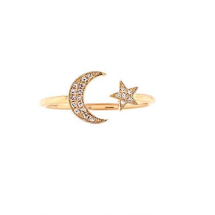 14KY Moon & Star Diamond Ring