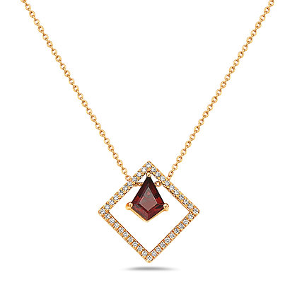 14KY Garnet & Diamond Geometric Necklace