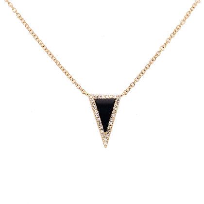 14KY Black Agate & Diamond Necklace