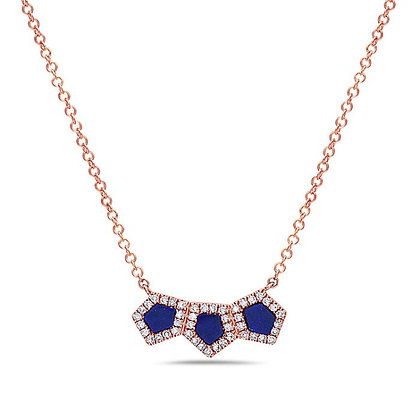 Bassali 14KR Lapis & Diamond Necklace