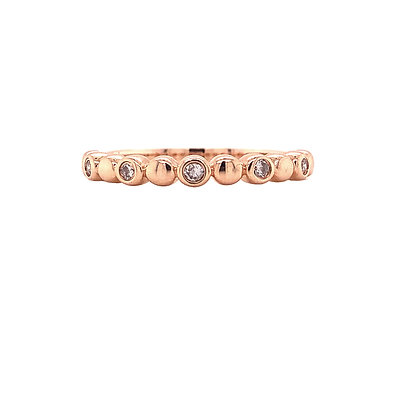 14KR Bezel Set Diamond Stackable Ring