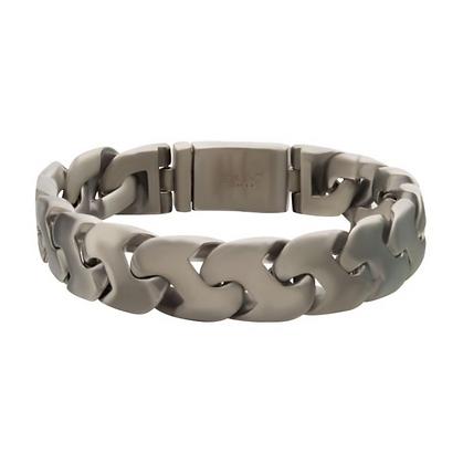 Matte Stainless Steel Double Chain Z-Link Bracelet