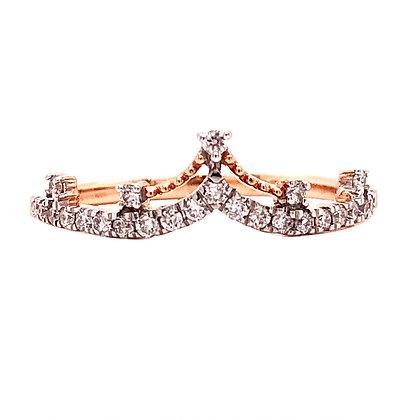 14K Rose Gold Diamond Crown Ring