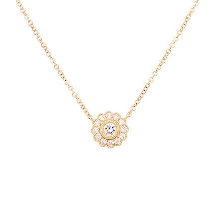 14KY Flower-Shaped Diamond Necklace