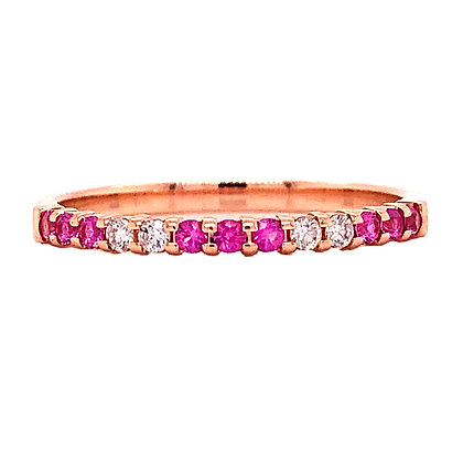 14K Rose Gold Pink Sapphire & Diamond Stackable Ring