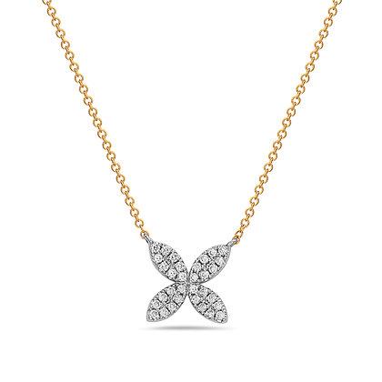 14KYW Small Flower Diamond Necklace