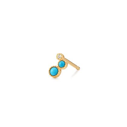 14KY AMIRA   Turquoise & White Sapphire Waterfall Single Earring