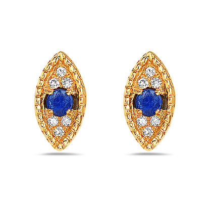 14KY Sapphire & Diamond Evil Eye Studs