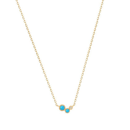 14KY AMIRA   Turquoise & White Sapphire Waterfall Necklace