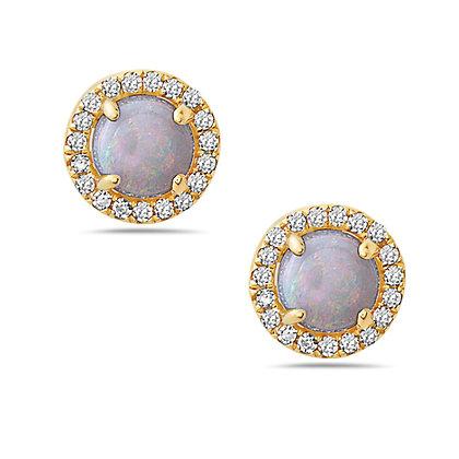 14KY Opal Earrings Set w/ Diamonds