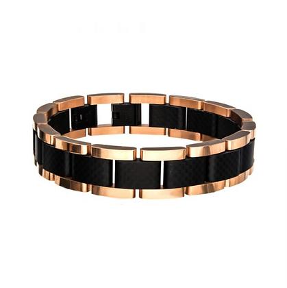 Black & Rose Gold Plated with Carbon Fiber Link Bracelet