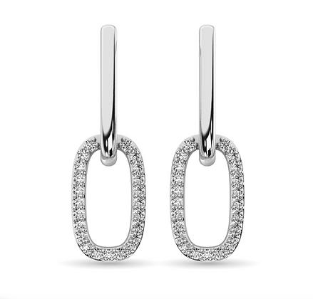 14KW 0.20ctw Diamond Paperclip Earrings