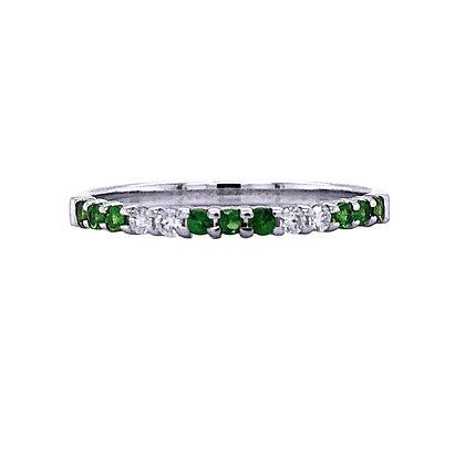 14KW Tsavorite & Diamond Stackable Ring