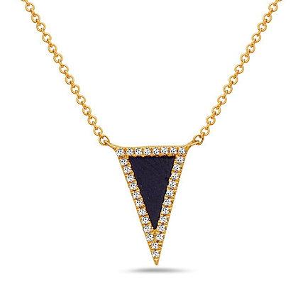 14KY Lapis & Diamond Triangle Necklace