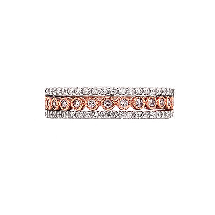 10K White & Rose Three-Band Diamond Ring