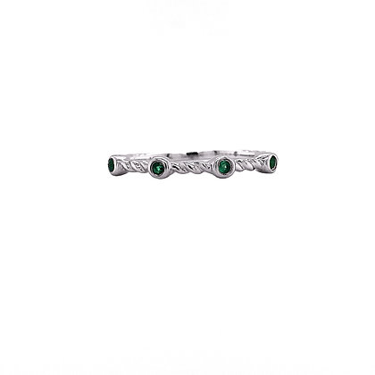 14KW Tsavorite Twisted-band Stackable Ring