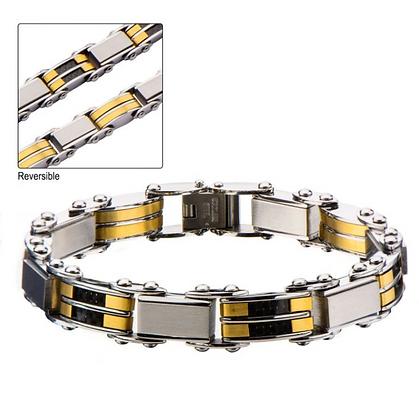 Black & Gold Plated Reversible Bracelet