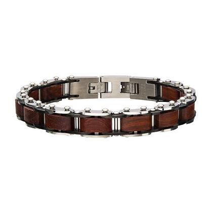 Stainless Steel w/ Red Sandal Wood Link Bracelet