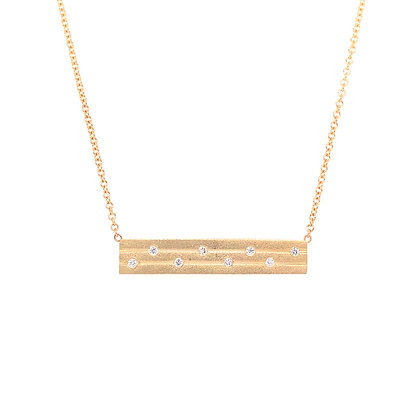 14KY Brushed Gold & Scattered Diamond Necklace