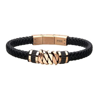 Black Braided Leather w/ Rose Gold IP Bracelet