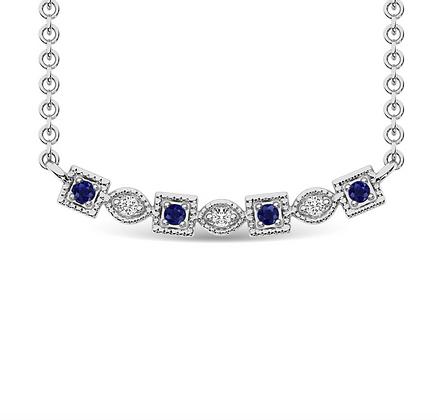 10KW Sapphire & Diamond Alternating Round & Square Necklace