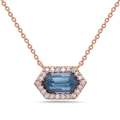 Bassali 14KR London Blue Topaz Hexagon Pendant
