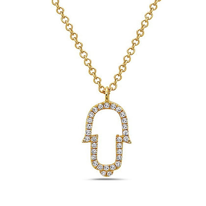 14KY Diamond Hamsa Necklace