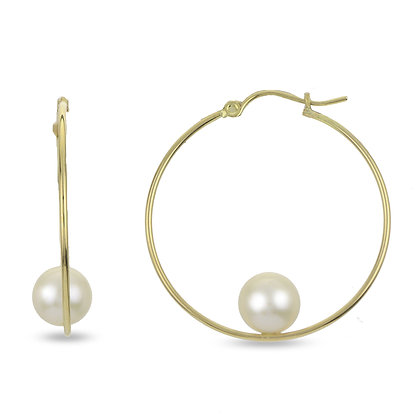 14KY Pearl Hoop Earrings