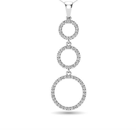 14KW 0.25ctw Graduating Circles Diamond Necklace