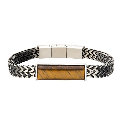 Stainless Steel Franco Chain w/ Tiger Eye Stone Bracelet