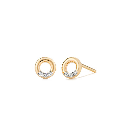 14KY LENA   Open Circle Diamond Studs