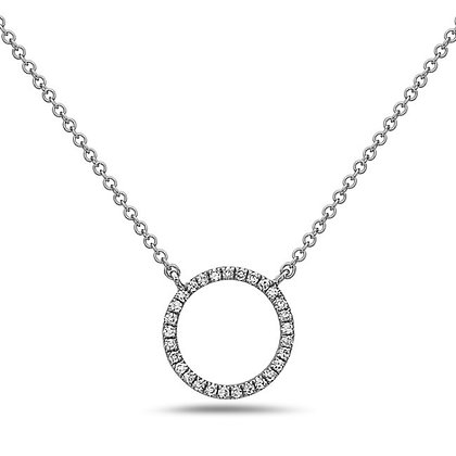 14KW Diamond Circle Necklace