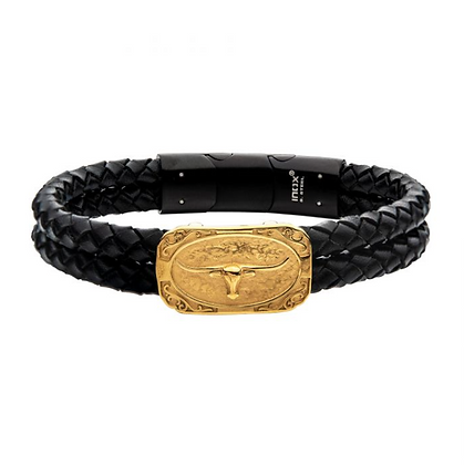 Double Strand Black Leather with Gold Plated Longhorn Bracelet