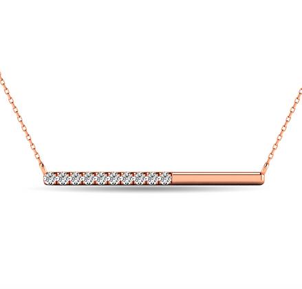 10KR 1/6ctw Diamond Horizontal Bar Necklace