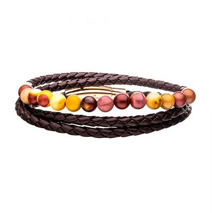 Double Wrap Brown Leather w/ Mookaite Beads Bracelet
