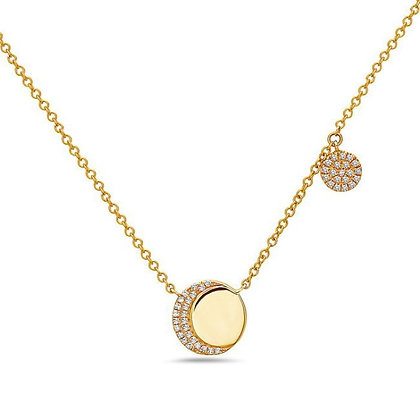 Bassali 14KY Diamond Double Disk Necklace