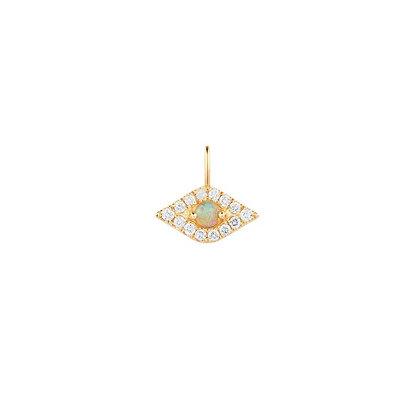 14KY HELENE   Opal & Diamond Evil Eye Pendant