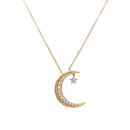 14KY Moon Diamond Necklace