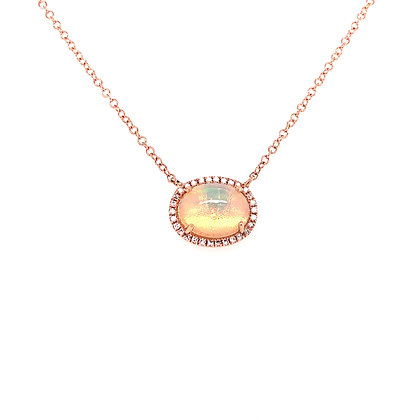 14KR Opal Necklace Set w/ Diamonds