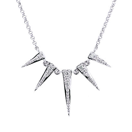 14KW 5 Spike Necklace